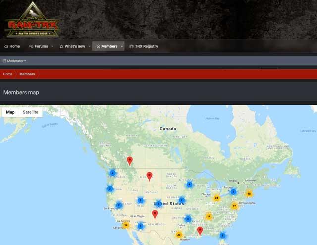 RAM TRX Forum Member Map